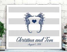 Beach Wedding Guest Book Alternative,Seahorse Wedding guest book, Ocean wedding, Beach wedding guestbook, seahorse and heart Wedding poster