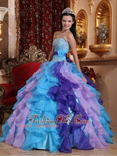 Multi-color Quinceanera Dress Sweetheart Organza Beading and Appliques Ball Gown  http://www.fashionos.com