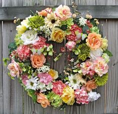 Pink and Peach Peony and Rose Wreath | IGW Gallery: Irish Girl's Wreaths Complete Gallery