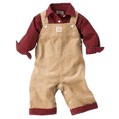 This outfit is so adorable!!!! Chaps Plaid Shirt and Corduroy Overalls Set - Baby