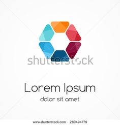 Vector color logo hexagon template. Modern abstract circle creative sign or symbol. Design geometric element with 6 equal parts