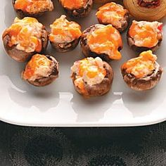 Stuffed Party Mushrooms w/ crabmeat and spreadable garden vegetable cream cheese & cheddar cheese