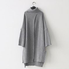 cf152a85f932 Casual Simple Pure Color Loose High Collar Knitted Maxi Dress – Topjarashop