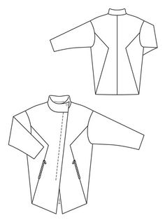 High Collar Coat +move those pockets up & shorten it Flat Drawings, Flat Sketches, Technical Drawings, Dress Sketches, Fashion Design Portfolio, Fashion Design Sketches, Coat Patterns, Sewing Patterns, Fashion Sketch Template