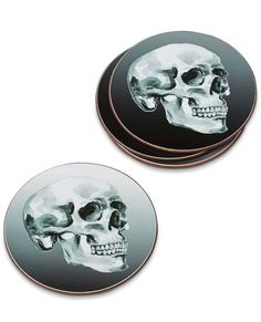 Shop Halloween's Biggest Trend: Skulls - Halloween Skull Coasters, $15 (for four); william-sonoma.com #InStyle