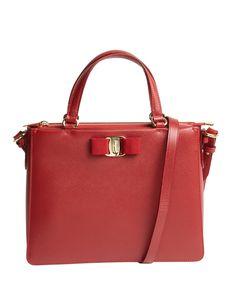 SALVATORE FERRAGAMO Red Leather Convertible Mini Satchel'. #salvatoreferragamo #bags #shoulder bags #hand bags #leather #satchel #