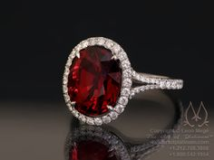 Simply stunning oval red Spinel surrounded by pave diamonds. Red Spinel, Blue Rings, Ruby Rings, Platinum Wedding, Eternity Ring, Solitaire Ring, Right Hand Rings, Schmuck Design, Anniversary Rings