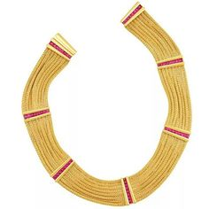 """""""An eight strand braided gold necklace with cabochon rubies by Hemmerle. #hemmerle #multistrand…"""""""