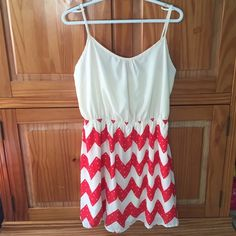 Chevron Boutique Dress Red and white chevron print boutique dress. NEW WITH TAGS. Peach Love California Dresses