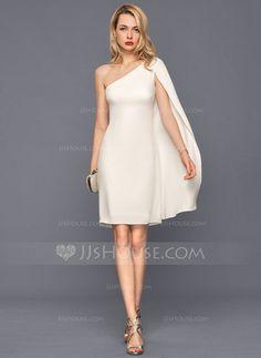 b8b695b9f9e7 Sheath Column One-Shoulder Knee-Length Satin Cocktail Dress (016140384)  Καθημερινά