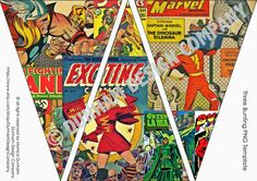 Comic Superhero PICTURE Bunting INSTANT by DunhamDesignCompany