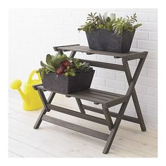 Mendocino Folding Plant Stand in Garden, Patio | Crate and Barrel