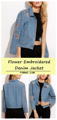 Blue Flower Embroidered Crop Denim Jacket