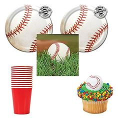 Baseball Sports Fanatic Party supplies  12 guests  cake plates napkins and cups plus cupcake rings -- Check out the image by visiting the link.Note:It is affiliate link to Amazon.
