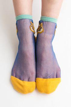 Women Brand New Hezwagarcia Tiger Stitch Blue Yellow Sheen Sexy Nylon Cotton Sheer See Through Ankle Socks
