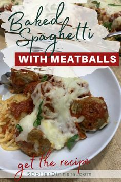 Baked spaghetti and meatballs is the dinner recipe you need this fall! It's super easy to make, and the kids will love it. Plus, it's comfort food! Best Pasta Recipes, Beef Recipes, Dinner Recipes, Delicious Recipes, Baked Spaghetti And Meatballs, Cheese Spaghetti, International Recipes, How To Cook Pasta, Pasta Dishes