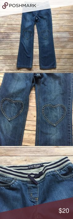 Mini Boden Jeans Size 10 Mini Boden Heart patch jeans in excellent condition.  Function drawstring at waist.  Little to no signs of wear. Mini Boden Bottoms Jeans