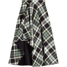 Alexander McQueen Tartan Midi Skirt (£1,320) ❤ liked on Polyvore featuring skirts, multicolor, full midi skirt, pleated skirt, mid-calf skirt, panel skirt and tartan pleated skirt