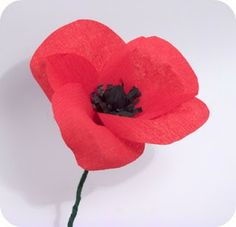 A fter daisy and dahlia , today I want to show you how to make a poppy. Crepe paper poppy Poppy is related to sleep and Morpheu. Tissue Paper Flowers, Fabric Flowers, Wire Flowers, Memorial Day Poppies, Anzac Poppy, Minis, Poppy Wreath, Remembrance Day Poppy, Poppy Craft