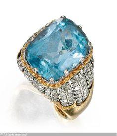 Buccellati Ring ,18 karat two-color gold, aquamarine and diamonnd, aquamarine weighing approximately 7.25 carats,