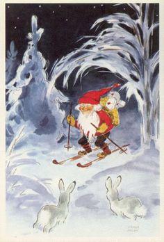 Irma Salmi' Swedish Christmas, Scandinavian Christmas, Vintage Christmas Cards, Christmas Images, Mythological Creatures, Fantasy Creatures, David The Gnome, Elves And Fairies, Old Cartoons