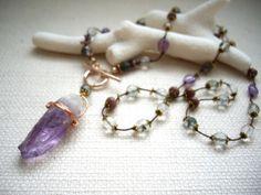 アメジスト原石ポイント ボヘミアンシック シルクスレッドロングネックレス  - Yoko's Jewelry
