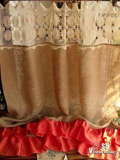 Vintage cream HAND Crochet Lace Ruffles Orange by BetterhomeLiving Burlap Drapes, Burlap Shower Curtains, Lace Valances, Lace Curtain Panels, Cream Curtains, Ruffle Curtains, Burlap Kitchen, Window Swags, Balloon Curtains