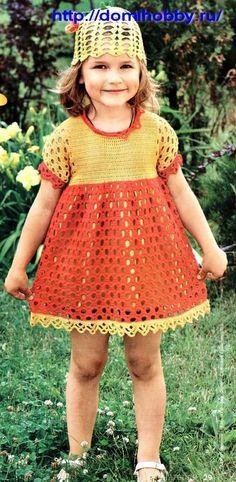Free+Russian+Crochet+Patterns | Dress for Girls (Russian free crochet pattern) | Things Mom Needs to ...