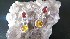 Two Tone Amber Silver Drop Stud Earrings