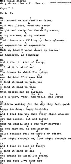 Song lyrics with guitar chords for Mad World