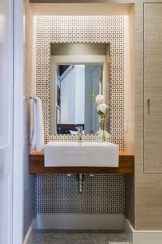 Contemporary Powder Room with Farmhouse sink, ceramic tile floors, Wallpaper, Powder room, Grasscloth wall paper
