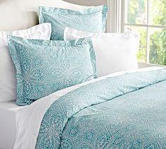 Farrah Medallion Organic Duvet Cover & Sham - Aqua Blue #potterybarn..possible guestroom bedding