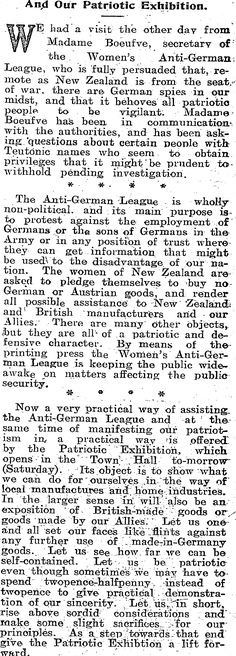 Madam Bouefve and the Women's Anti-German League
