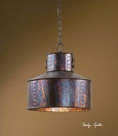 Rustic Tuscan Western Industrial Brown Copper Akron Mini Pendant