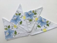 Applique Tea Napkins Hand Embroidered Blue Floral Set of 4 #Handmade House Colors, See Photo, Napkins, Applique, Im Not Perfect, Tea, Antiques, Floral, Pattern
