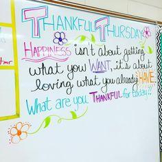 It's #thankfulthursday tomorrow!! Loving these whiteboard messages this week!! #miss5thswhiteboard #iteach7th #teachersfollowteachers #teachersofinstagram