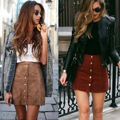 Fashion Elegant Women Ladies Summer Skirts High Waist Single Breasted Solid Slim A-Line Suede Leather Mini Skirts 2 Style(China) Suede Mini Skirt, Leather Mini Skirts, Mode Outfits, Fashion Outfits, Fashion Women, Ladies Outfits, Fashion 2017, Female Outfits, Party Outfits