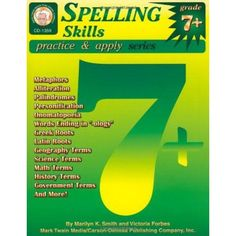 Spelling Skills, Grades 7 - 8 (Practice & Apply)  Support students spelling, #phonics, and writing skills with Spelling Skills for grades 7 and up. This 128-page book teaches #spelling-skills through whole-group and individual instruction and includes enrichment activities, a glossary, a list of children s literature, student #spelling-inventory, reproducibles, and an answer key. Students grasp a well-rounded understanding of #spelling-skills, practice the skills with exercises,...