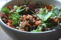 carrot date quinoa salad with basil & mustard citrus vinaigrette