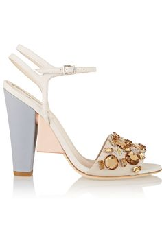FENDI Crystal-embellished color-block leather sandals
