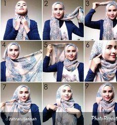How to wear hijab tutorials headscarves 17 Ideas Tutorial Hijab Pashmina, Square Hijab Tutorial, Hijab Style Tutorial, Turban Tutorial, Hijab Outfit, Hijab Dress, Turban Hijab, Islamic Fashion, Muslim Fashion