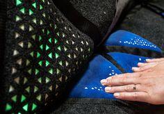 Soft laser cut blue velvet Touch sensors and musical RGB light dark grey laser textile. RHYME.no