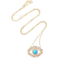 Suzanne Kalan 18K Gold, Diamond and Turquoise Eye Necklace (€3.755) ❤ liked on Polyvore featuring jewelry, necklaces, yellow, diamond pendant necklace, evil eye necklaces, 18k gold necklace, turquoise necklace and turquoise pendant necklace