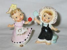 Vintage Enesco Country Farm Kids Ceramic Salt Pepper Shaker Set s P Shakers | eBay