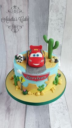 Lightning McQueen cake for Harrison who was celebrating his birthday :) 3rd Birthday Cakes For Boys, Car Cakes For Boys, Mario Birthday Cake, 2nd Birthday, Lightning Mcqueen Birthday Cake, Lightning Mcqueen Cake, Fondant Flower Cake, Fondant Bow, Fondant Tutorial