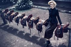 Very clever mix of equestrian with high fashion. Shows the saddles off beautifully.