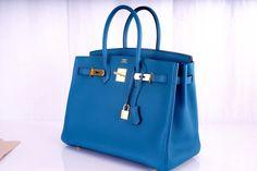 NEW COLOR HERMES 35CM BIRKIN BAG COBALT BLUE W GOLD HARDWARE image 4