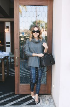 Wine Cheese for the Soul - Jacey wearing Checked Trousers, Gray Zara Sweater and Saint Laurent Sac de Jour.