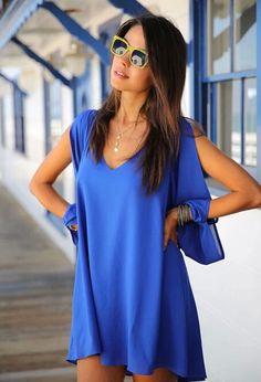 Chiffon Kleid V-Ausschnitt mit Schlitz-Ärmel, blau 13.60