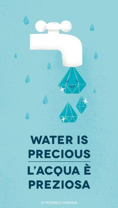 il CAROSELLO del DOMANI by Federico Mariani, via Behance -- Simple and elegant with a powerful meaning. It's cute and cartoony design caught my eye and taught me that water is indeed precious. and I lived happily ever after. Save Water Drawing, Social Awareness Posters, Water Poster, Poster On Save Water, Water Conservation, Creative Advertising, Environmental Art, Illustrations And Posters, Graphic Design Inspiration